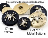 Spider Buttons, Black enamel buttons . Free worldwide shipping